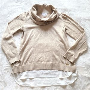 Calvin Klein Gold Turtle Neck Knit with Blouse